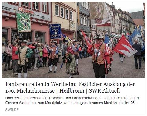 Wertheimer Zeitung: Fanfarenzug durch Wertheim zum Abschluss der Michaelismesse