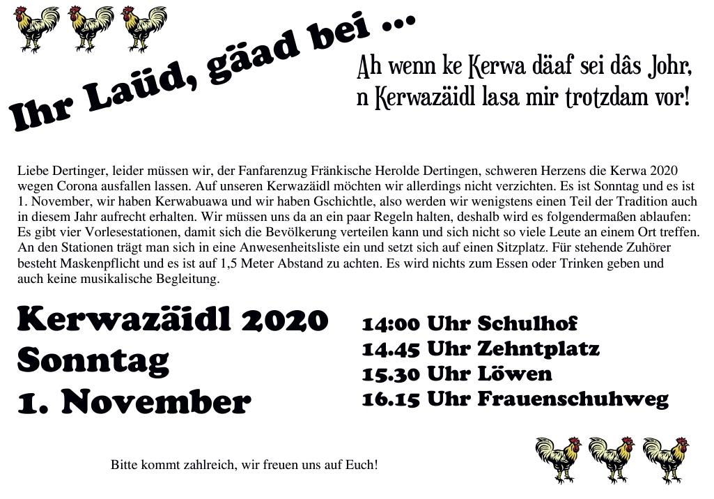 Kerwazäidl 2020 Sonntag 1. November